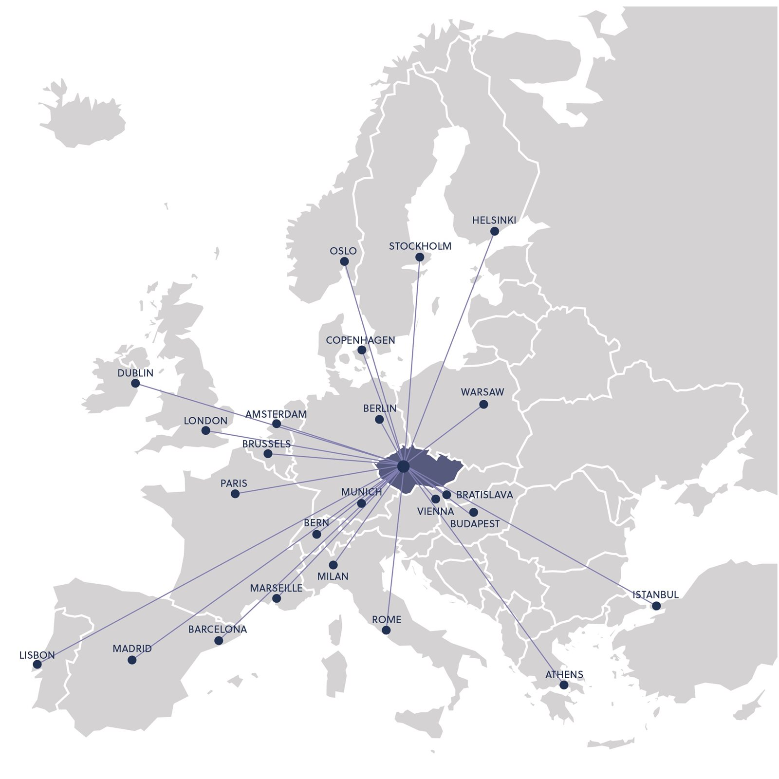 Most European destinations can be reached from Prague within a two-hour flight